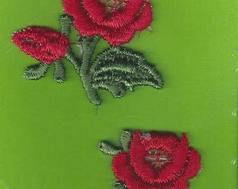 Vintage Wrights Sew On Applique Red Roses, 1980s