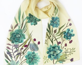 Make Me Feel Succulent Hand Painted Silk Scarf Wearable Art Plants Inspired Design
