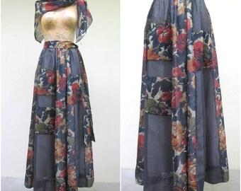 Vintage 1970s Skirt / 70s Chessa Davis Boho Designer Patchwork Maxi Skirt with Matching Scarf and Belt / Small - Medium