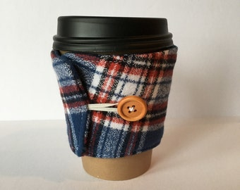 Coffee Cozy- Plaid Cotton Flannel Coffee Cup Sleeve- Red, White and Blue Plaid Reusable Sleeve