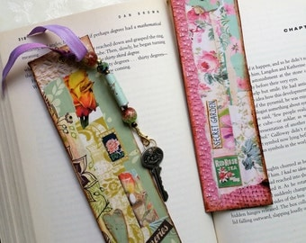 Bookmark Set, Pair of Bookmarks, Paper Collage Bookmarks with Beaded Tassels, Handmade Bookmarks, Teacher Gift, Gift for Her, Book Lovers
