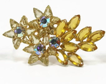 Vintage Rhinestone Brooch, Brooch Set, Star Motif, Jonquil Yellow, Topaz Orange, Vintage Jewelry,Rhinestone Earrings, Rhinestone Pin, Brooch
