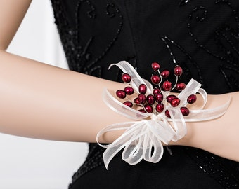 Wrist Corsage - Freshwater Pearl Burgundy Corsage - Maroon, Red Corsage - Wedding Corsage - Bridesmaid Corsage - Prom Corsage