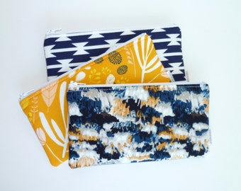 Zip Pouch. Cosmetic / Make-up Bag. Gadget / Pencil / Phone Case. Navy. Mustard Yellow. Southwest.