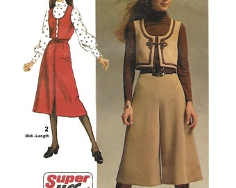 Simplicity 9102 Misses 70s Super-Jiffy Vest, Midi-Pantskirt and Midi-Skirt Sewing Pattern Size 12 Bust 34