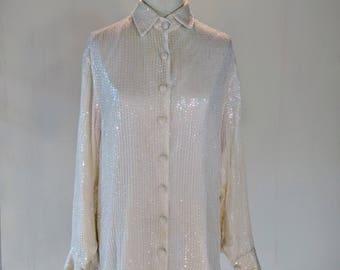 White Sequin Iridescent Long Button Down Dress Shirt Glam