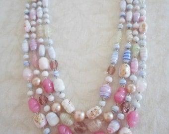 Vintage 4 Strand Pastel Art Glass Springtime Necklace