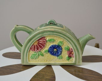 1930s Majolica Style Teapot, Made in Japan