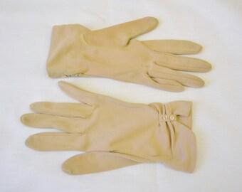 1950s Beige Nylon Gloves with Button Details