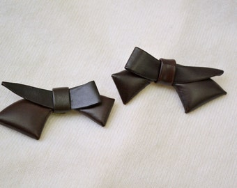 1950s Brown Bow Shoe Clips