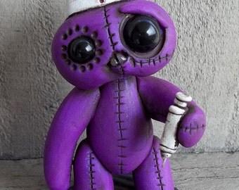 Nelly the Nurse Stitchling polymer clay sculpture,Purple desk buddy,original art,OOAK,desk buddy,cake topper,Covington Creation,figrurine