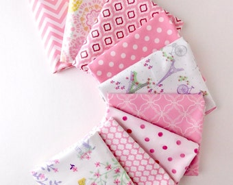 Pink Paris Bundle of 9 Fat Quarters , Paris and Eiffel tower fabric 100% cotton fabric for Quilting and general sewing projects.