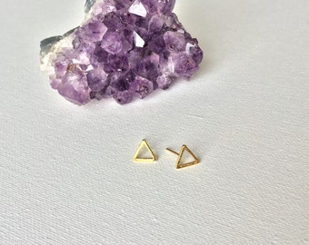 Gold Triangle Earrings, Gold Triangle Post Earrings, Triangle Stud Earrings by Indira Boheme