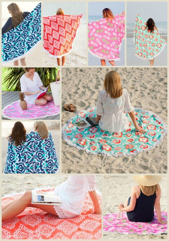 Monogrammed Round Beach Sand Circle,  Round Beach Blankets,  Choose between four patterns