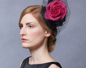Rose and Crystal Veil Headpiece