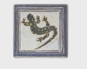 Salamander Arts and Crafts Decorative Handmade  4x4 Ceramic Tile