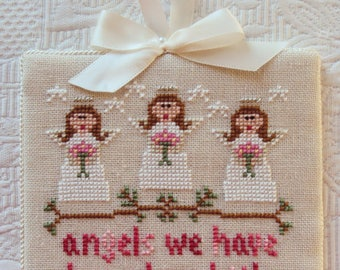 Handmade Finished Cross Stitch Christmas Ornament ANGELS We Have Heard