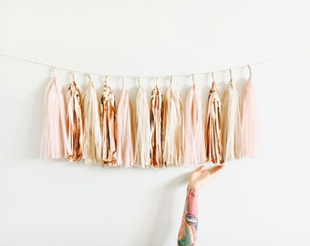 Blush, Rose Gold and Champagne Shimmer Tassel Garland - Baby Shower Decorations, Blush Wedding Decor, Bachelorette Party, High Chair Banner