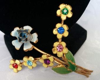 AZUB Austria Brooch, Flowers, Brass, Enamel
