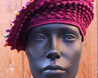 Purely Burgundy Crocheted Hat with a Sparkly Top & Cute Pink Flower Pin...