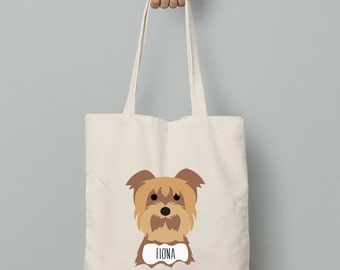 Yorkshire Terrier canvas tote bag, personalized custom name