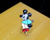 Rare! Mickey Mouse Zuni Ring / Native American Southwest ZUNITOON Inlaid Stone and Silver Ring / SIGNED Mary Ann Poncho
