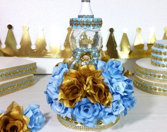 Little Prince Baby Shower Centerpiece For Royal Baby Shower / Boys Blue U0026  Gold Centerpiece/