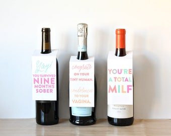 Printable Decor, Wine Tags, Holiday Wine Gift, Wine Labels For Mom, New Baby Gift, Shower Decor, Rainbow Decor, Wine Gift, Gift For New Mom