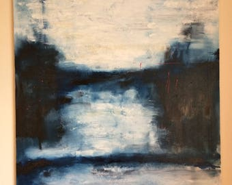 Original Abstract Oil Painting; blue, white; water; sea