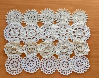 20 Small Craft Doilies, Beige Crochet Doilies, 2 1/2 to 3 inch Lace Doilies, Small Pieces for Crafts and Dream Catchers