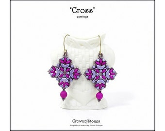 Bead pattern DIY tutorial Cross earrings with Arcos, Minos, O beads, round beads, seed beads