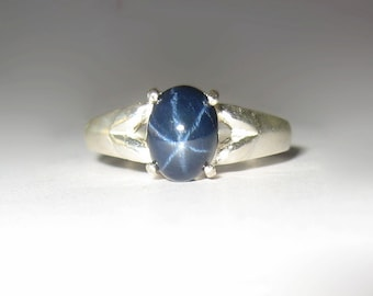 Natural Blue Star Sapphire In Sterling Silver Ring 2.5ct. Size 6.5