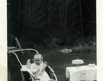 "Vintage Photo ""Marilyn's First Birthday"" Snapshot Antique Photo Old Black & White Photograph Found Paper Ephemera Vernacular - 17"
