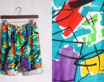 XS S 90s High Wasted Shorts Psychadelic Colorful Abstract
