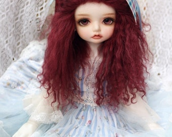 1/3 Size Claret Red  Tibetan Mohair Wavy Wig for Volks BJD SD and Pullip Dolls