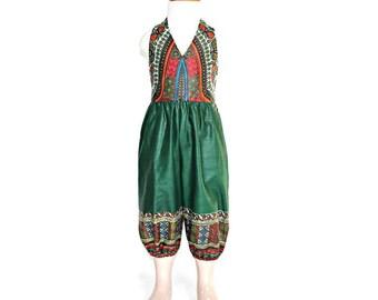 African Print girl's jumpsuit, ankara children's overalls, angelina kids jumpsuit, dashiki print girl's jumpsuit, green ankara playsuit