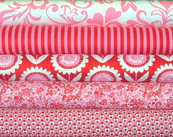 Hello Sunshine Valentine Fat Quarter Bundle of 5 by Michael Miller