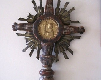 Rare French 18th Century Hand Carved Wood Processional Cross With Gilded Centre