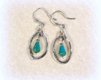 Sterling Silver Earrings, Turquoise Earrings, Artisan Sterling Silver Charm with Turquoise Teardrop and Sterling Silver Earwires