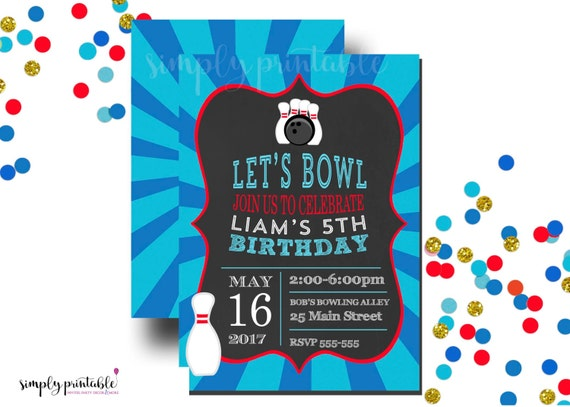 Bowling Invitation, Birthday Invite