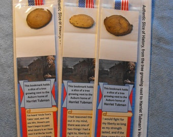 Harriet Tubman's Home Authentic Slice of History bookmark – from a tree growing next to the Auburn NY house of Harriet Tubman