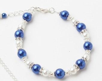 Royal blue pearl bracelet, royal blue bracelet, royal blue wedding jewelry, Bridesmaid Gift, Maid of honor gift, Mother of the groom gift