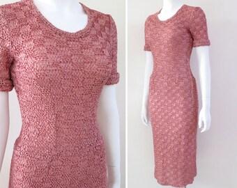 SALE - 1950s Ribbon Knit Dress, Size 4-6 - 50% off