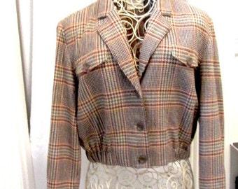 Vintage Pendleton, vintage jacket, Pendleton jacket, wool jacket, plaid jacket, 70s jacket, womans jacket, bomber jacket, 70s tweed jacket