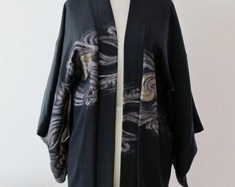 Vintage Black Kimono Metallic Design
