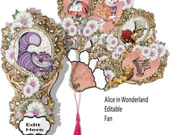 Alice in wonderland fan editable printable for any occasion just print and assemble great for Birthdays, Weddings, or as a card