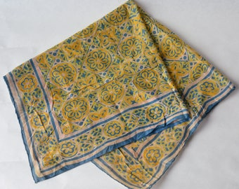 Vintage Batik Scarf Bandana Square Hand Rolled edge -B6