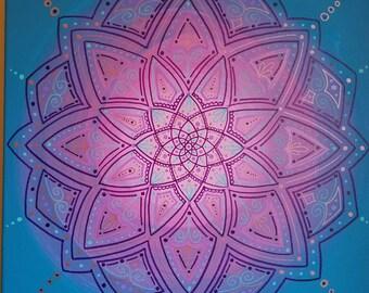 Purple Mandala on Pink and Blue