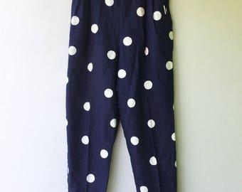 1980s Vintage Navy Blue & White POLKA DOT Linen Women's Pants // Size Medium