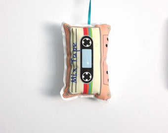 Retro tape ornament: Cassette Christmas ornament- modern holiday decor